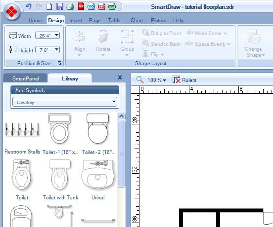 smartdraw has the ability to let you group walls or doors or other items in your floorplan into essentially one big item to group or ungroup items - Smartdraw Floor Plan Tutorial