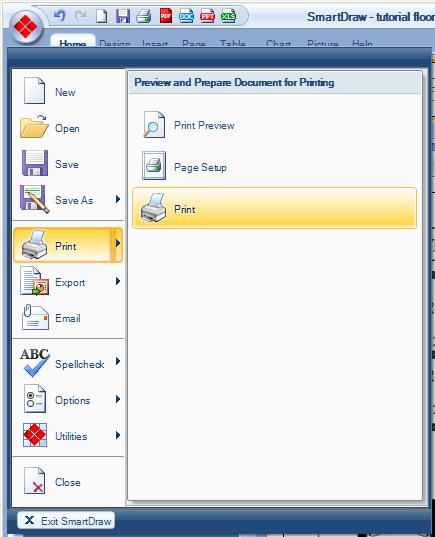 set your printer name using the pull down menu to adobe pdf and also select print on one page - Smartdraw Pdf
